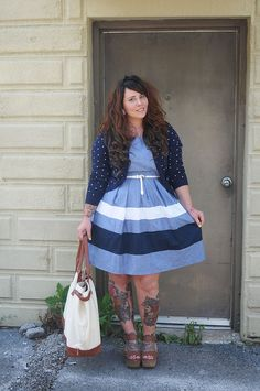 Cute, curvy girl and outfit! Blue striped dress (brunette, tattoos, self love, self acceptance, curvy,curves, curvspiration, self image, body love, body positive, plus size fashion)