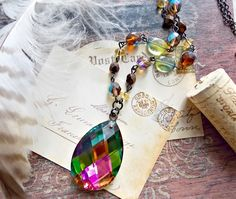 northern lights. kaleidoscope aurora borealis chandelier prism necklace rainbow Czech glass beaded repurposed reclaimed jewelry Ella Belle by EllaBelleJewels, $38.00 USD