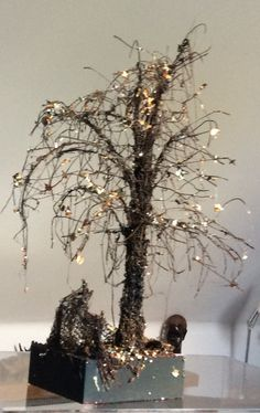 This Tree in Late Autumn is a mixed media sculpted scene. 3D pen filaments create the tree which is the sprayed and metallic flakes added. Creating the sculpted develops an awareness of structural integrity and the use of support materials. Barbara Taylor-Harris.