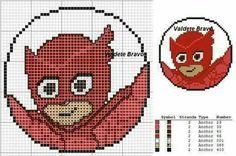 Gufetta Fuse Bead Patterns, Kids Patterns, Perler Patterns, Beading Patterns, Pj Max, Disney Cross Stitch Patterns, Stitch Cartoon, Tapestry Bag, Kid Character