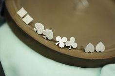 Poker diamond club spade heart stud earrings in silver / gold 4 suits on Etsy, $12.25