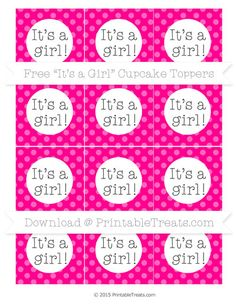 Magenta Dotted Pattern  Its a Girl Cupcake Toppers