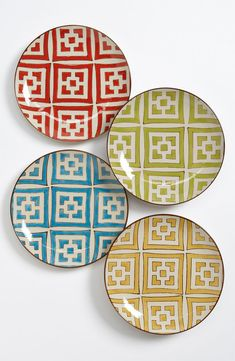 Hand-Painted 'Moroccan' Dessert Plates (Set of 4)