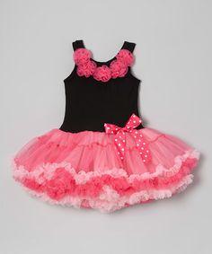 Love this Black & Pink Rosette Pettiskirt Dress - Infant, Toddler & Girls on #zulily! #zulilyfinds