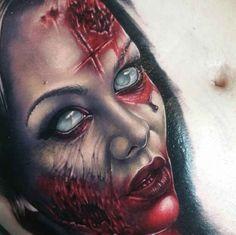 Demon Woman Tattoo Portrait