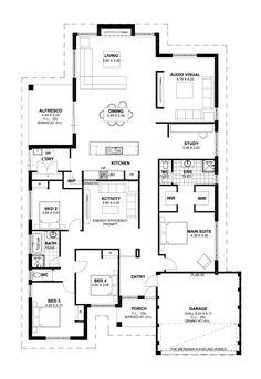 4 Bedroom House Plans Lovely Floor Plan Friday 4 Bedroom theatre Activity and Study Floor Plan 4 Bedroom, 4 Bedroom House Plans, New House Plans, Dream House Plans, House Floor Plans, Plan Ville, House Plans Australia, Home Design Floor Plans, Murphy Bed Plans