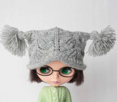Blythe hat Grey knitted hat for Blythe doll by VolnaDollsClother