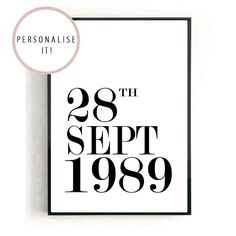 Personalised Date Print BLACK AND WHITE Black Wood, White Wood, Black And White, Personalised Prints, Personalized Gifts, Cellophane Wrap, Copper Rose, My Room, Wall Art Prints
