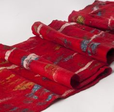 Sari Collage Scarf – Red, made in Nepal