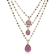 14k Yellow Gold Over Sterling Silver 24ct Pink Tourmaline Triple Strand Beaded Necklace - 26 Inches