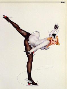 Vargas Pin Up Girls Collection | Vintage Vargas 1941 Pin-up Girls Poster Ice Skater Dancer & Blonde in ...