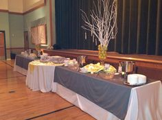 table set-up for a reception or church event