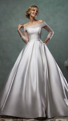 amelia sposa 2016 wedding dresses off the shoulder tulle neckline three quarter 3 4 sleeves satin a line ball gown dress paolina