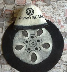 Купить Автолюбителю. Для бани. - чёрно-белый, шапка для бани, комплект для бани, подарок автомобилисту