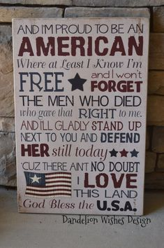 12x18 I'm Proud to be an AMERICAN sign by DandelionWishesDesig