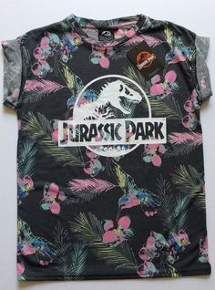 $15 Ladies Jurassic Park Universal Studios Retro Movie Floral T Shirt from Primark | eBay