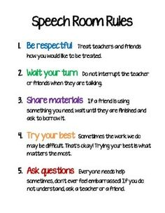 The simple rules I have posted for my speech therapy room.Please feel free to contact me if you would like the title to say something different (e.g. OT Room Rules, Therapy Room Rules, etc.)Thanks for looking!