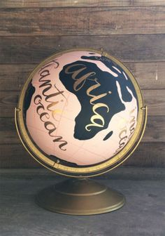 Gorgeous Pink and Black Hand-Painted Globe by 1canoe2