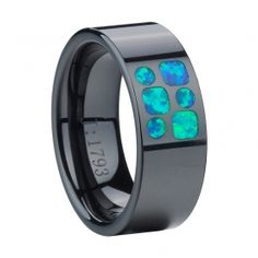Flat Black Ceramic Inlay Opal