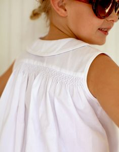 madden blouse - classic smocking in white