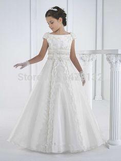 2015 A larga línea hermoso blanco primera comunión vestido de las mangas del casquillo Applique del vestido de bola para las niñas Vestidos de Comunion Ninas