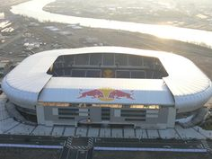 The New York Red Bull Arena is located in Harrison, NJ. Mls Soccer, Soccer Stadium, Football Stadiums, Ny Red Bulls, Stadium Architecture, Top Of The Morning, Messi And Ronaldo, Rugby, Major League Soccer