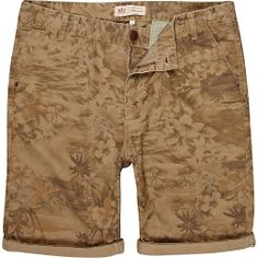 BROWN HAWAIIAN PRINT SHORTS