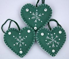 Felt Christmas decorations. Set of 3 Embroidered Snowflake Heart ornaments.