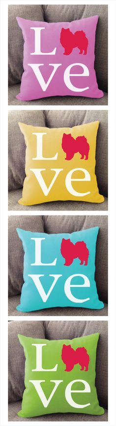 American Eskimo Love pillow. Offered in multiple colors and 50+ dog breeds. Cover is machine washable and Made in USA.