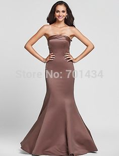 Free Shipping Strapless Bridesmaid Dress Long Mermaid Wedding Party Dresses Online Satin Bridesmaid Dress Simple