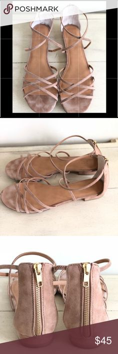"""EUC J. Crew Suede Strappy Sandals, Saddle 11M Worn one time! They are super comfy, just not really my style. I'm a sneaker girl.  Suede upper. Antiqued gold zipper. Man-made sole. Heel height: 1 3/16"""". Item G4958. J. Crew Shoes Sandals"""