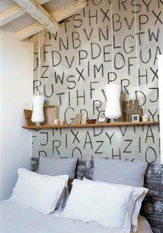 contemporary bedroom with alphabet letters wallpapers