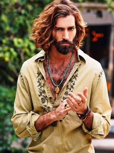 Hippie hairstyles for guys Mens Haircuts Thick Hair, Haircuts For Men, Haircut Men, Long Hairstyles For Men, Stylish Hairstyles, Indie Outfits, Long Curly Hair, Curly Hair Styles, Bohemian Style Men