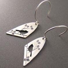 Standard Silver Darkened Half Oval Chickadee on Summer Branch Earrings