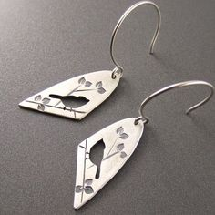 Standard Silver Darkened Half Oval Chickadee on Summer Branch Earrings
