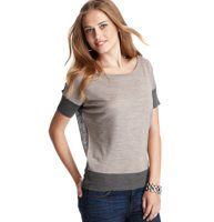 Colorblock Wedge Short Sleeve Sweater - Two-faced: we love the unique glam of this colorblocked wedge style that stars two (complimentary) hues in one. Boatneck. Short sleeves. Ribbed neckline, cuffs and hem.