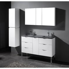 "Milano Glossy White  60"" Modern Double Sink Bathroom Vanity"