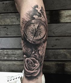 ▷ ideas for a compass tattoo + info about their symbolic meanings - Kompass tattoo - tattoos Map Tattoos, Best Sleeve Tattoos, Rose Tattoos, Body Art Tattoos, Garter Tattoos, Heart Tattoos, Skull Tattoos, Flower Tattoos, Compass Tattoo Forearm