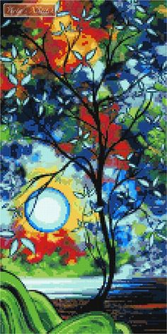 Under the light of the blue moon abstract cross stitch | Yiotas XStitch