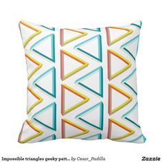 Impossible triangles geeky pattern throw pillows. #Nerdy #Home #Decor