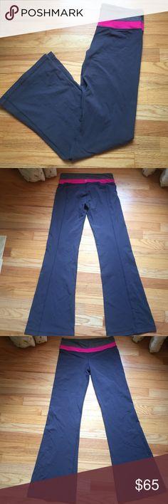 "Grey/pink Lululemon flared pants Great condition! Inseam: 30"" lululemon athletica Pants Track Pants & Joggers"