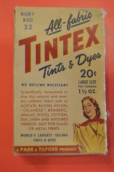 Check out this item in my Etsy shop https://www.etsy.com/listing/508872336/all-fabric-tintex-tints-dyes-in-ruby-red