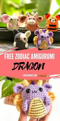 Let's crochet the tiny and adorable Chinese zodiac dragon with the beginner-friendly, easy-to-follow free crochet pattern and video tutorial! The astrology birthday crochet gift is easy and fun to wrap up within 2 hours. Figure out other zodiac animal amigurumi on www.anvisgranny.com #anvisgranny #zodiacsign #crochetanimal #amigurumipattern #crochetvideo Crochet Animal Amigurumi, Softie Pattern, Crochet Amigurumi Free Patterns, Free Crochet, Amigurumi Toys, Crochet Animals, Softies, Plushies, Easy Crochet Stitches