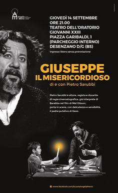 """""""Giuseppe il Misericordioso"""". Locandina per spettacolo teatrale di e con Pietro Sarubbi."""