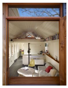 Garage Transformation - Garage Studio - SHED Architecture and Design - Seattle - Living Area 1 - Humble Homes Small Space Living, Living Area, Living Spaces, Living Room, Cozy Living, Garage Turned Into Living Space, Garage Renovation, Garage Remodel, Tiny Spaces