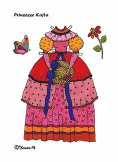Karen`s Paper Dolls: Katja 1-4 Princess Paper Doll to Print in Colours. Katja 1-4 Prinsesse påklædningsdukke til at printe i farver.