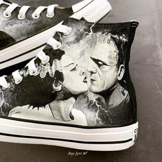 My favourite creepy time of the year is almost here again! 🎃 I loved getting my teeth into these! (Swipe for pics) Who's your favourite monster? Custom Painted Shoes, Hand Painted Shoes, Custom Converse, Goth Women, Classic Monsters, Frankenstein, Dracula, Hypebeast, Insta Art