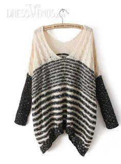 Vogue Color Block Long Sleeves Paillette V-Neckline Striped Sweater