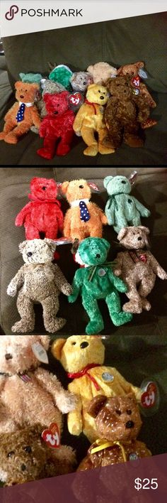 TY Beanie Bears 10 total All are in great condition . TY Accessories