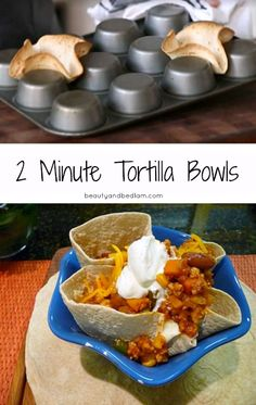 This is one of my favorite things. Either small or large size - perfect for soups, dips, salsa, guacamole etc. How to make a baked Tortilla Bowl in minutes